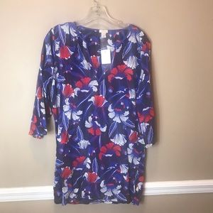 NWT J Crew Blue Floral Tunic/ Cover Up Sz S
